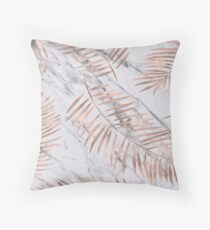 Rose gold palm fronds on marble Throw Pillow