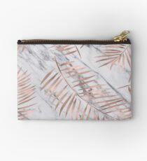 Rose gold palm fronds on marble Studio Pouch