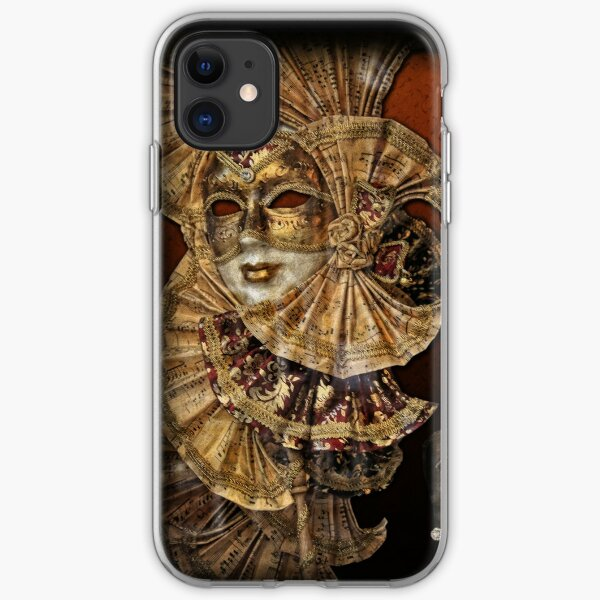 Venetian beautiful golden mask with musical notes decorations iPhone Soft Case