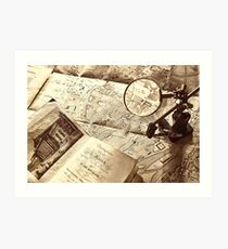 An old map and magnifier lens Art Print