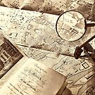 An old map and magnifier lens by gameover
