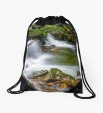 small cascade on the river among bouders Drawstring Bag