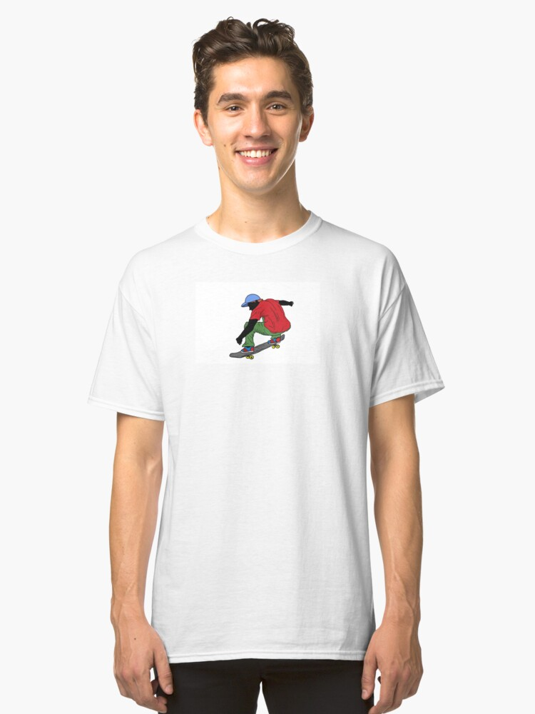 Red shirt skateboarder drawing Classic T-Shirt Front