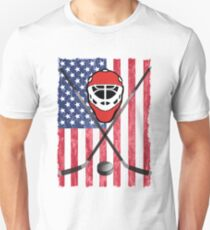Hockey USA Flag Design  Unisex T-Shirt