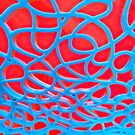 Red and Turquoise Maze by OneDayArt