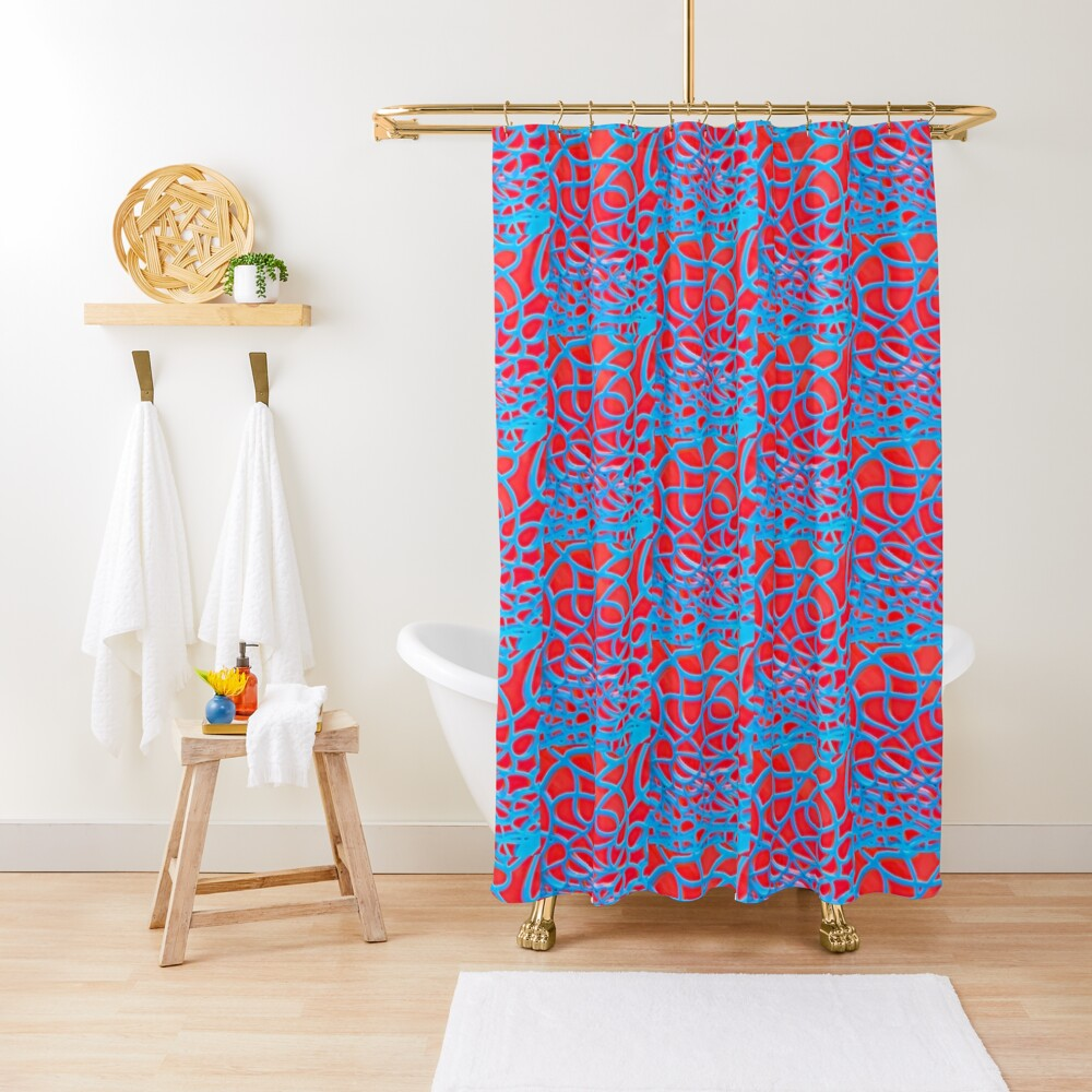 Red and Turquoise Maze - Abstract Art Photography Shower Curtain