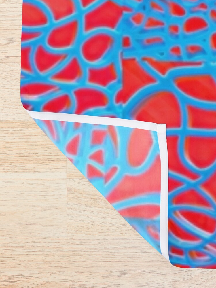 Alternate view of Red and Turquoise Maze - Abstract Art Photography Shower Curtain