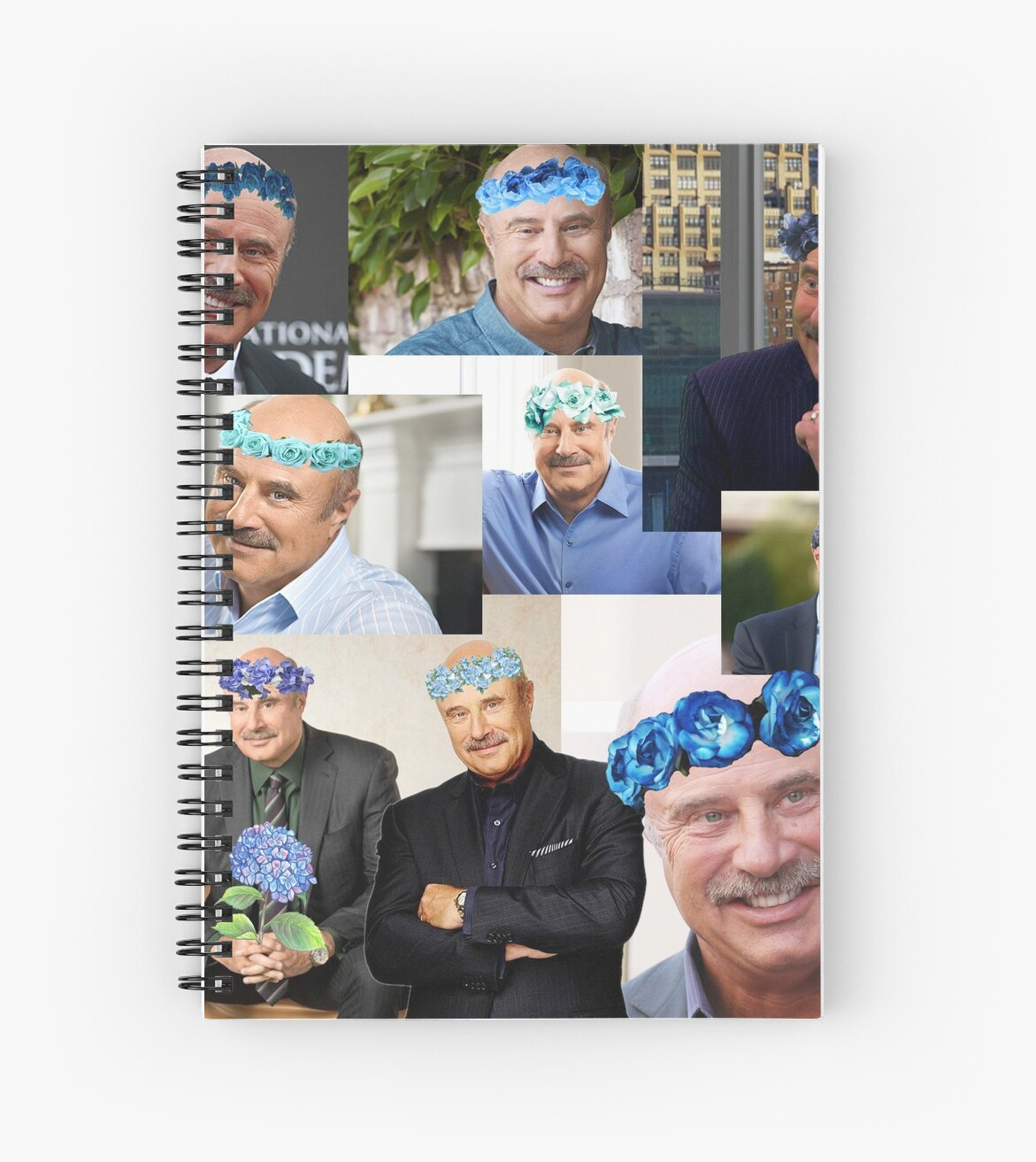 Dr Phil Blue Flower Crown Collage Spiral Notebooks By