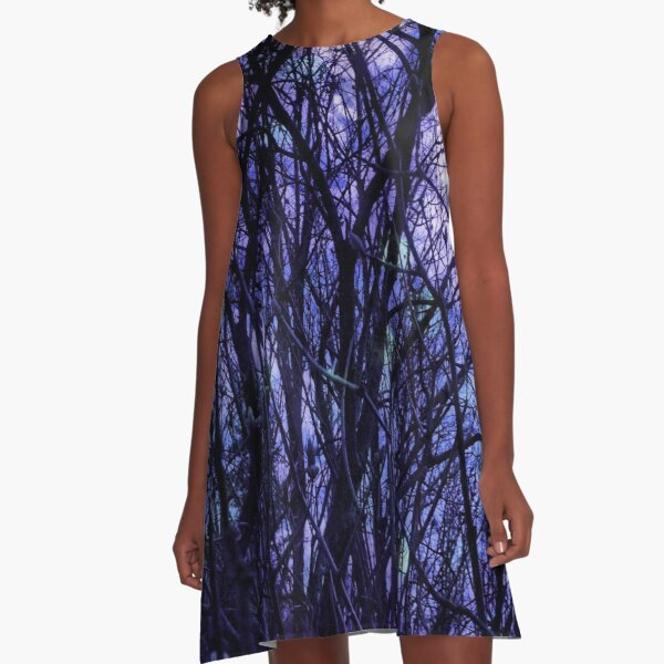Dark Purple Forest - Purple Blue and Black Bare Tree Landscape A-Line Dress