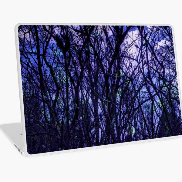 Dark Purple Forest - Purple Blue and Black Bare Tree Landscape Laptop Skin