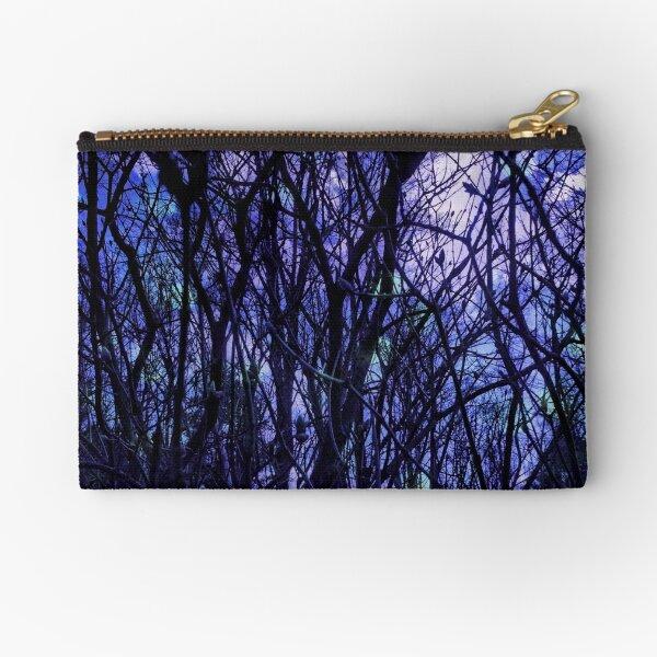 Dark Purple Forest - Purple Blue and Black Bare Tree Landscape Zipper Pouch