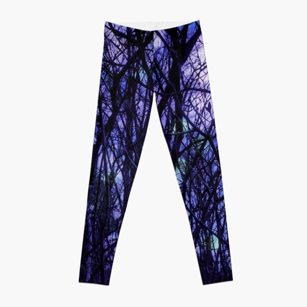 Dark Purple Forest - Purple Blue and Black Bare Tree Landscape Leggings