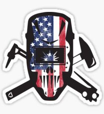 Welder USA Flag Design Sticker