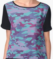 Blue camouflage. Abstract pattern Chiffon Top