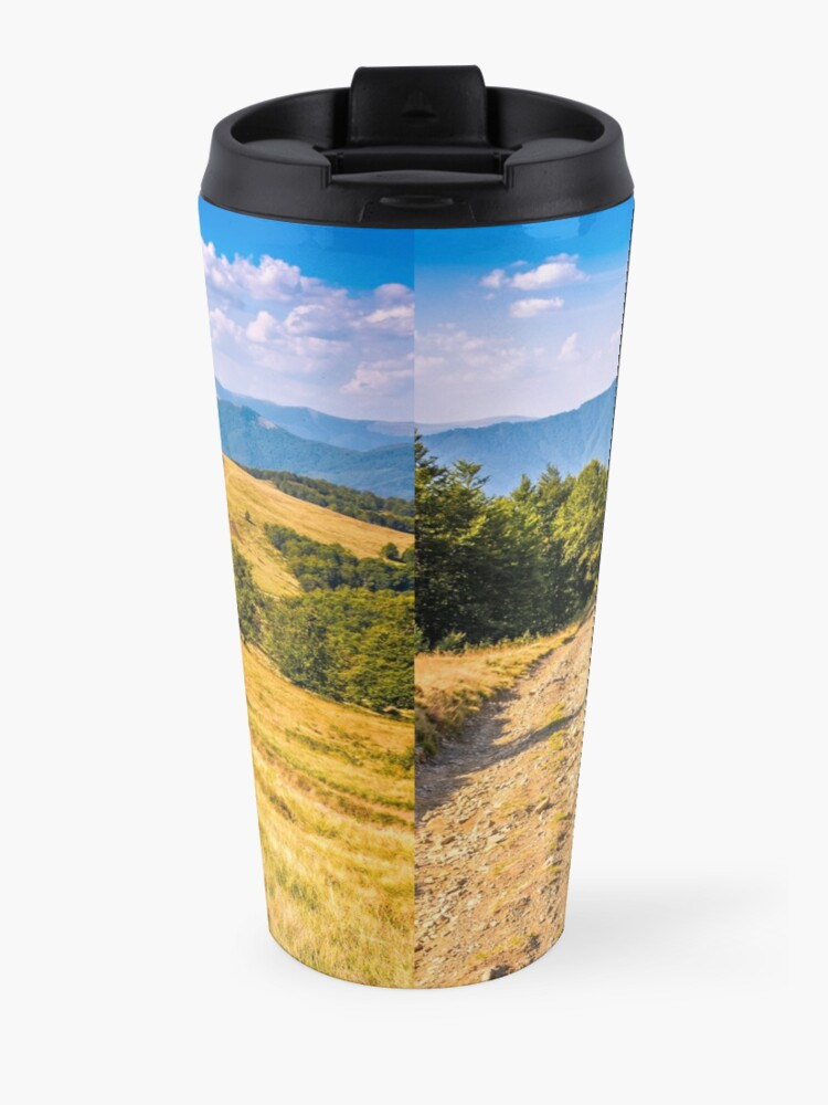 Alternate view of Countryside road in mountains at sunset Travel Mug