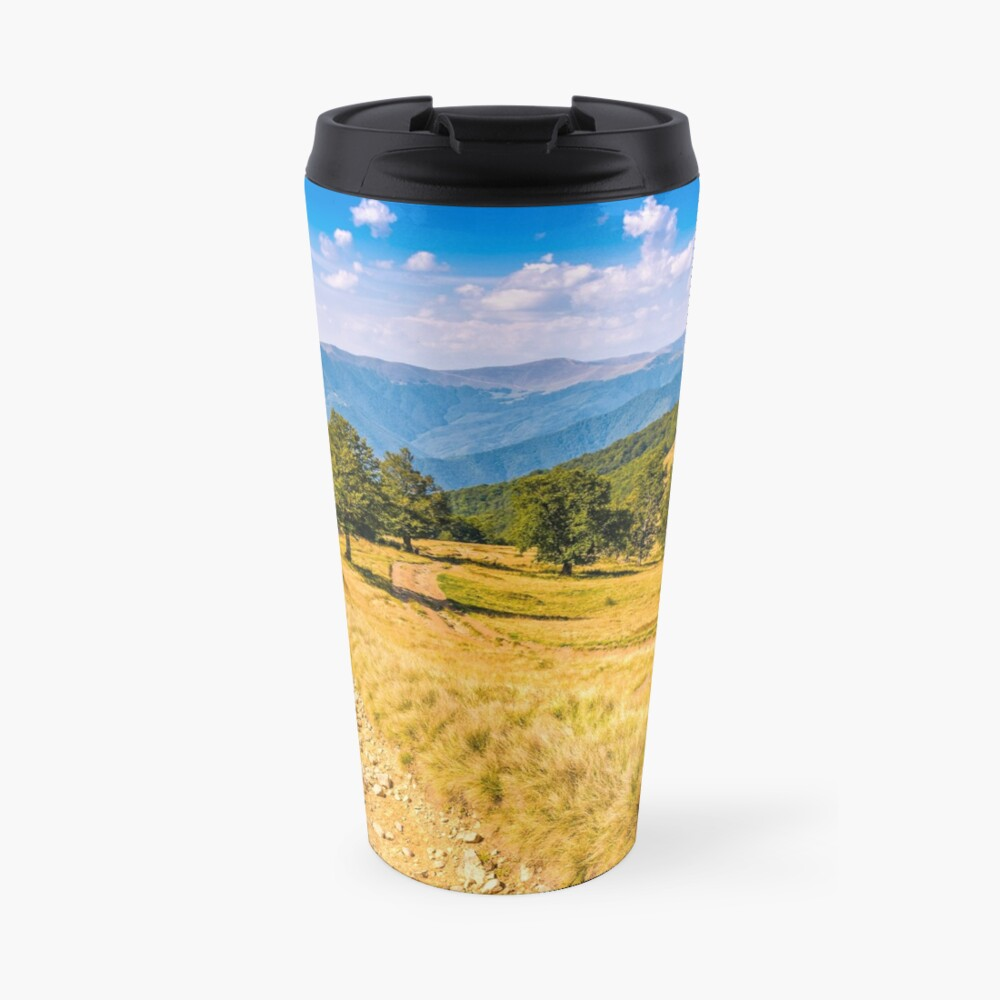 Countryside road in mountains at sunset Travel Mug