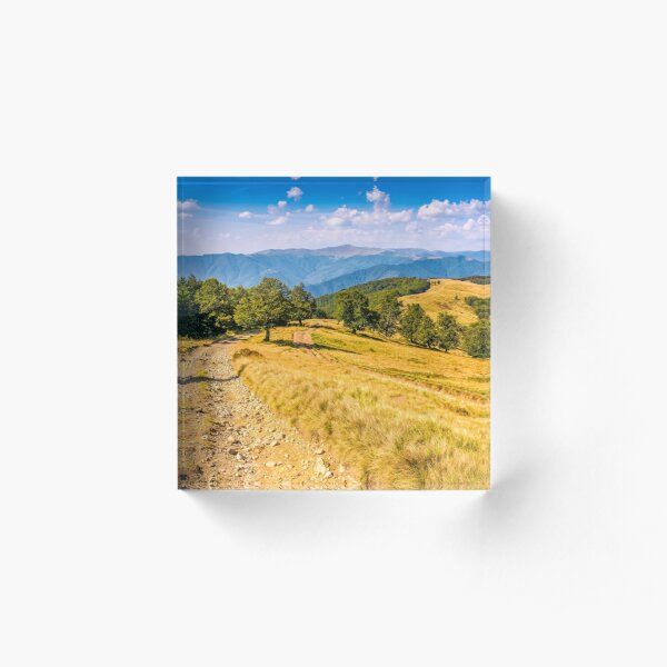 Countryside road in mountains at sunset Acrylic Block