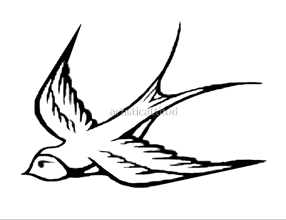 Simple black white sparrow drawing by artisticattitud