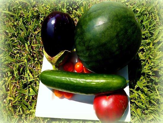 Home Grown Garden Veggies and Fruit by Charmiene Maxwell-Batten
