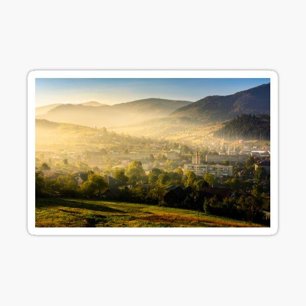 sunrise in mountain rural area in summer Sticker