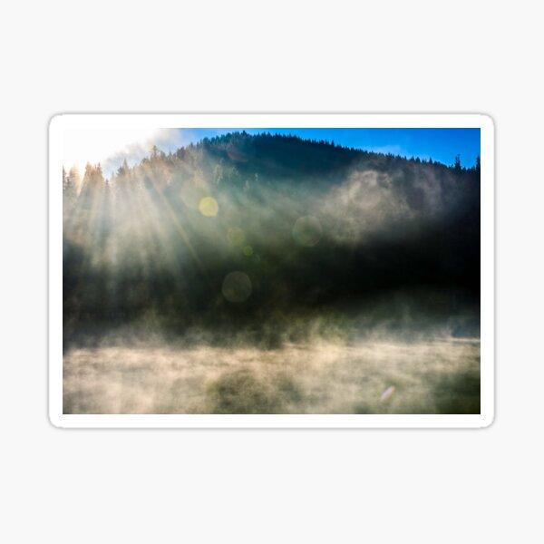 forest lake in fog at sunrise Sticker