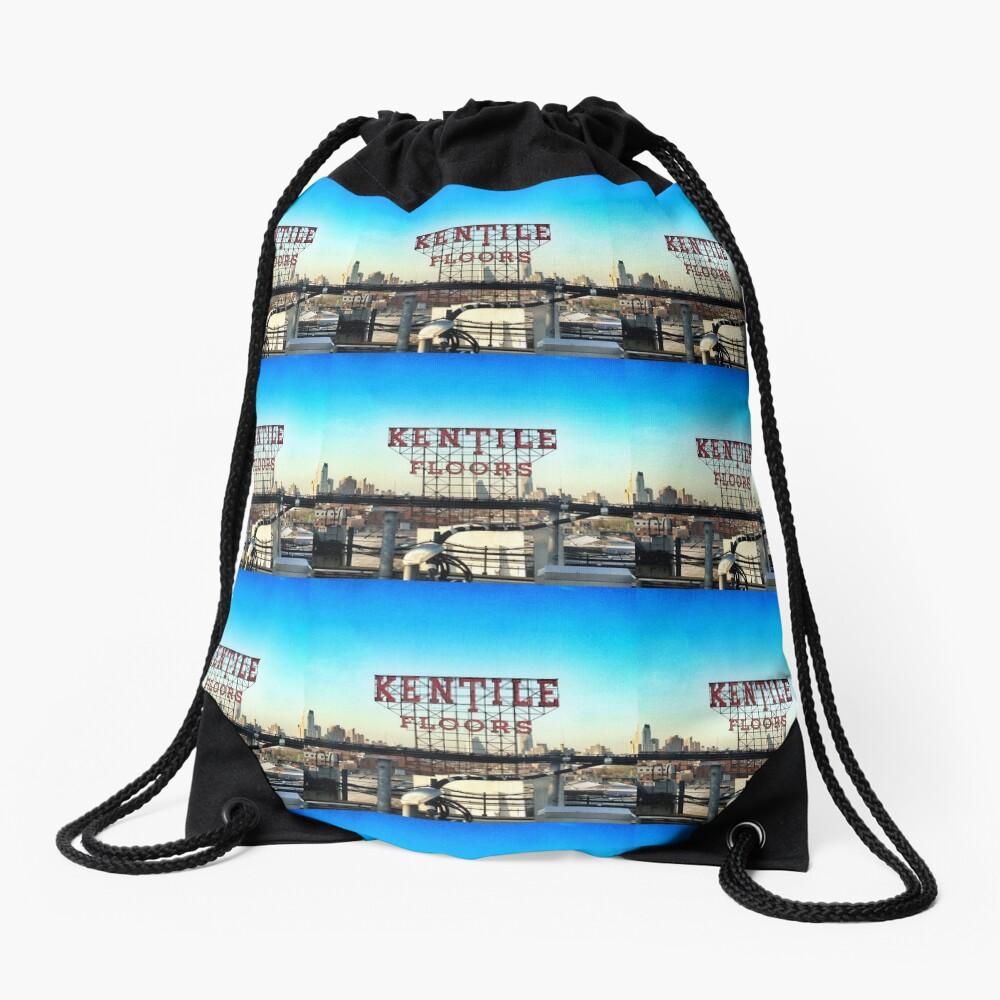 Kentile Floors - Downtown Brooklyn Skyline Photography by OneDayOneImage - Brooklyn Lovers  Drawstring Bag