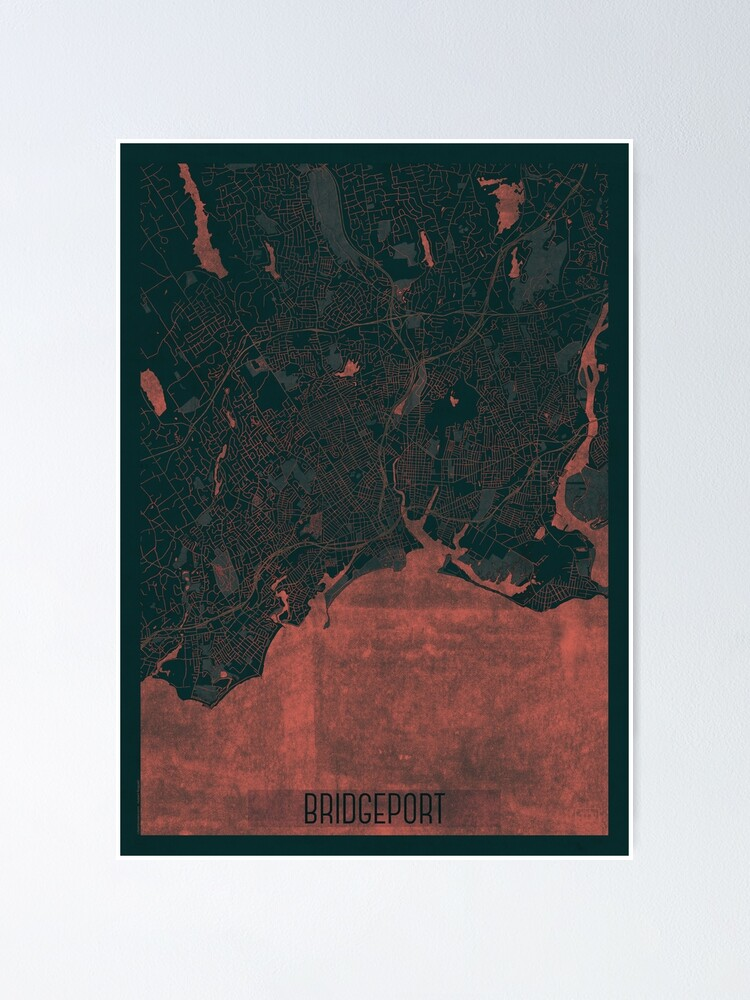 Alternate view of Bridgeport Map Red Poster