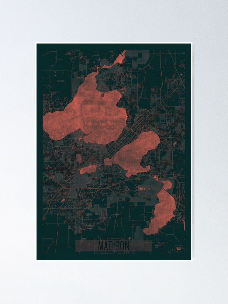 Alternate view of Madison Map Red Poster
