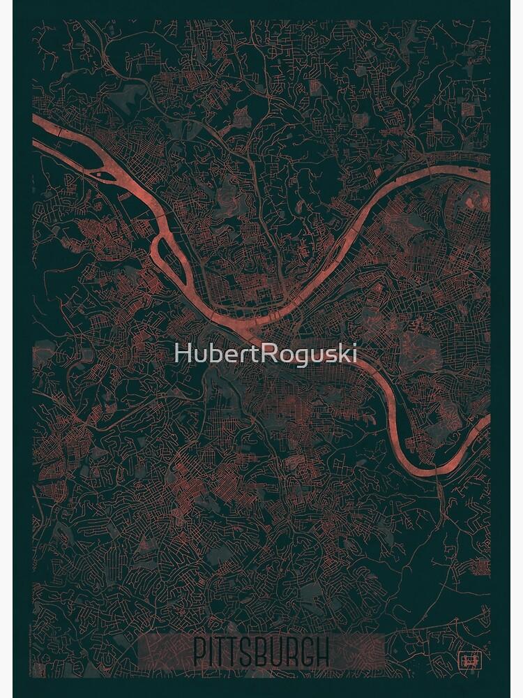 Pittsburgh Map Red by HubertRoguski