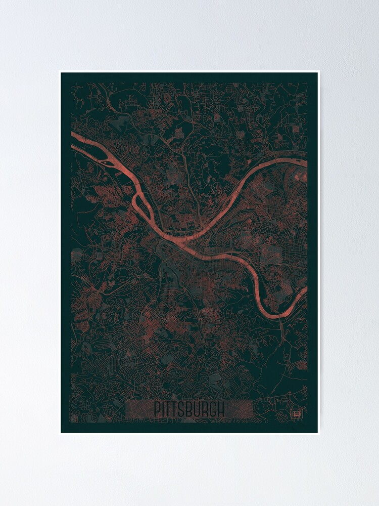 Alternate view of Pittsburgh Map Red Poster