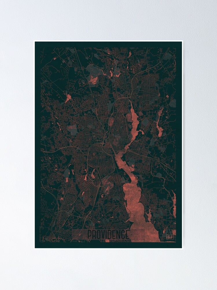 Alternate view of Providence Map Red Poster