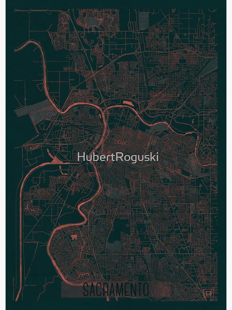 Sacramento Map Red by HubertRoguski