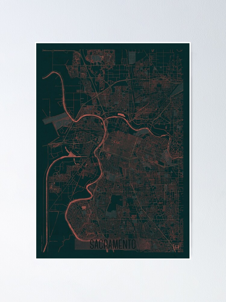 Alternate view of Sacramento Map Red Poster