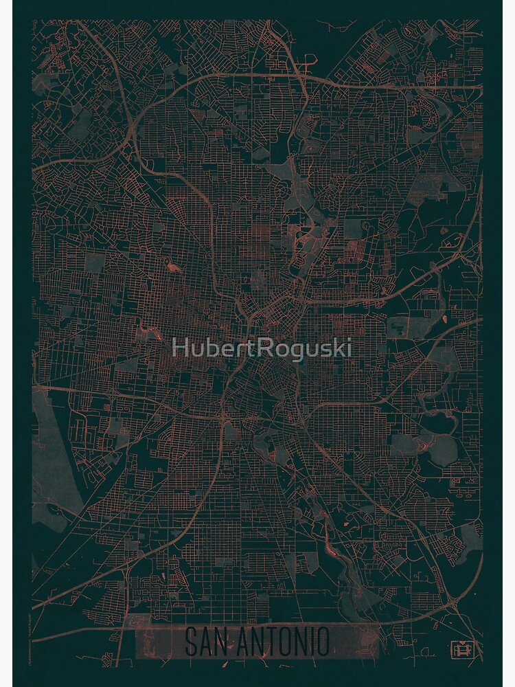 San Antonio Map Red by HubertRoguski