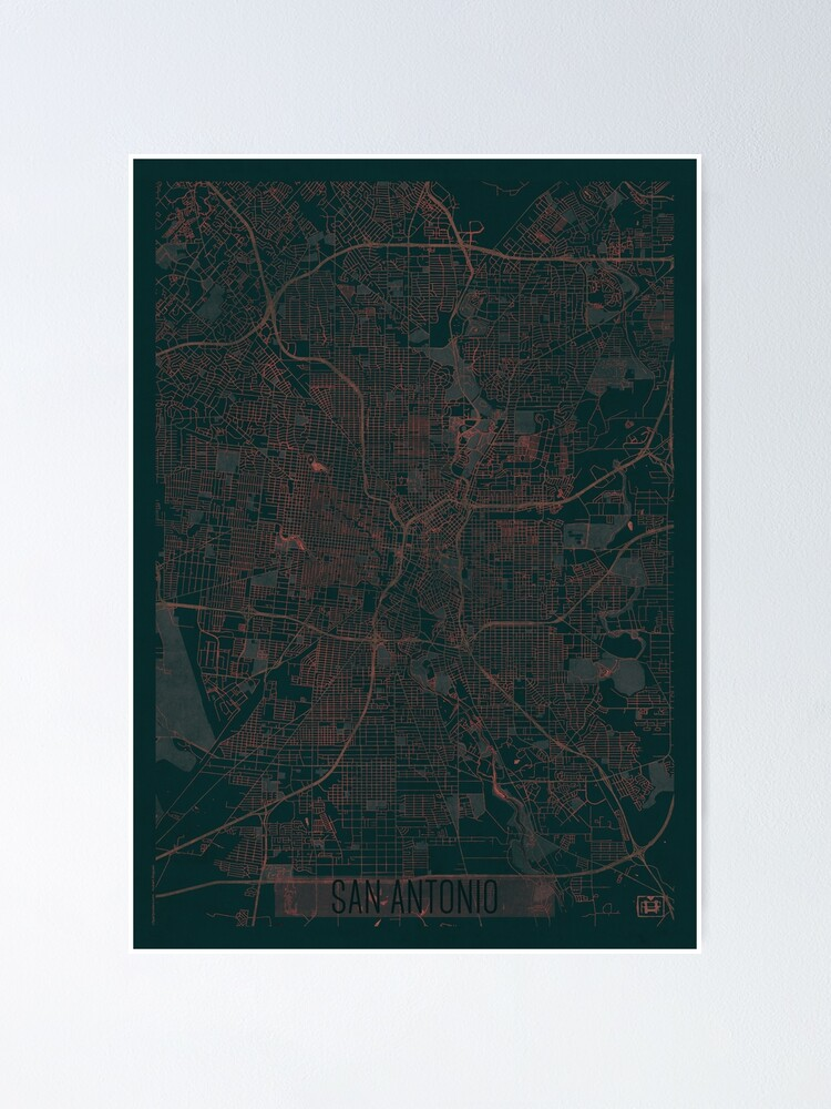 Alternate view of San Antonio Map Red Poster
