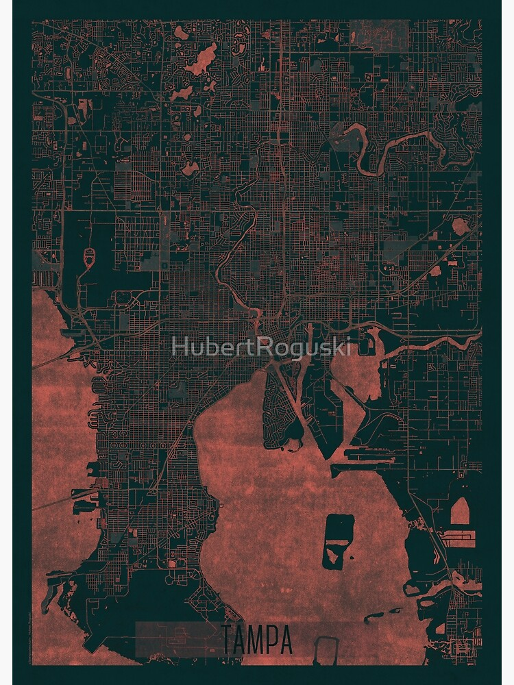 Tampa Map Red by HubertRoguski
