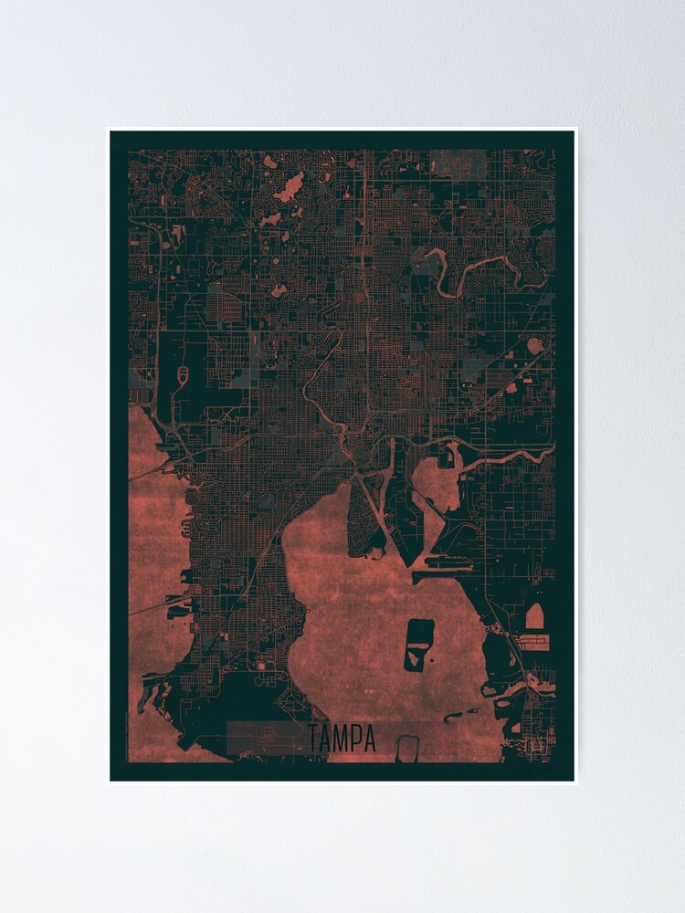 Alternate view of Tampa Map Red Poster