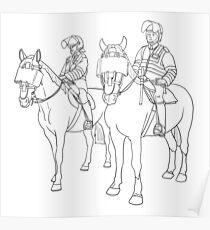 London Metropolitan Horse Cops - Black and White Poster
