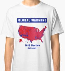 2016 Election Results Map | Global Warming Design Classic T-Shirt