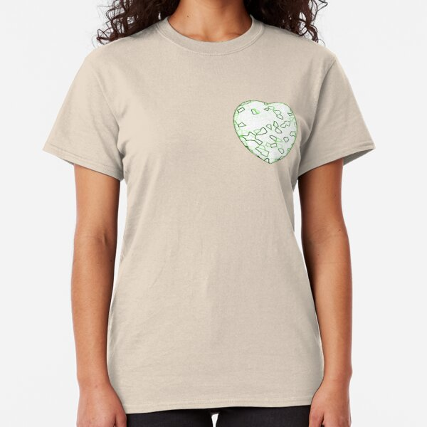 Stylised Green & White Heart Classic T-Shirt