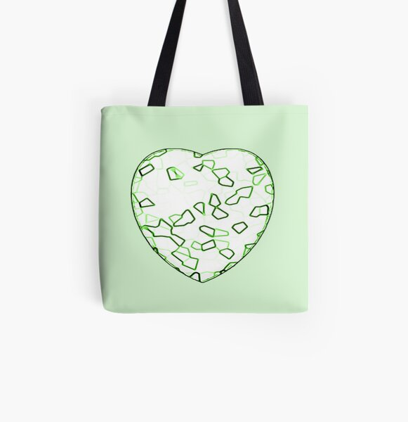 Stylised Green & White Heart All Over Print Tote Bag