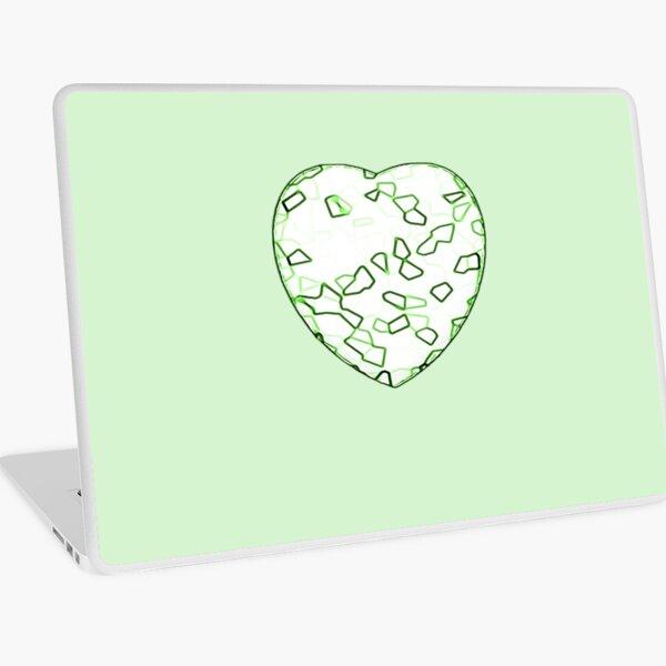 Stylised Green & White Heart Laptop Skin
