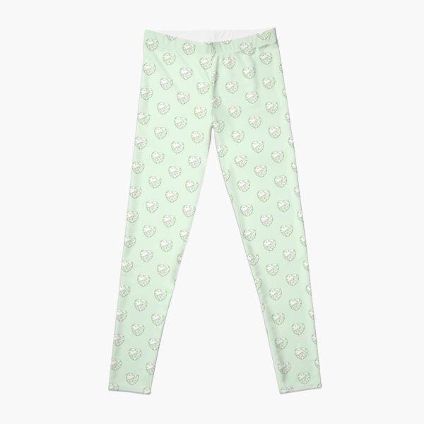 Stylised Green & White Heart Leggings