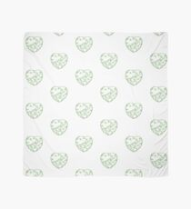 Stylised Green & White Heart Scarf