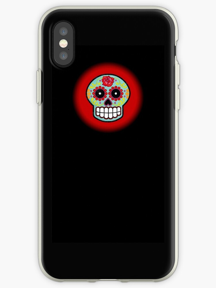 Red simple sugar skull black phone case by artisticattitud