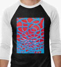 Red and Turquoise Maze Men's Baseball ¾ T-Shirt