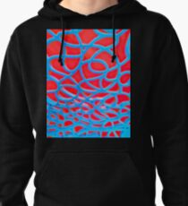 Red and Turquoise Maze Pullover Hoodie