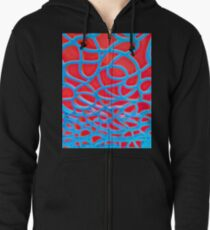 Red and Turquoise Maze Zipped Hoodie