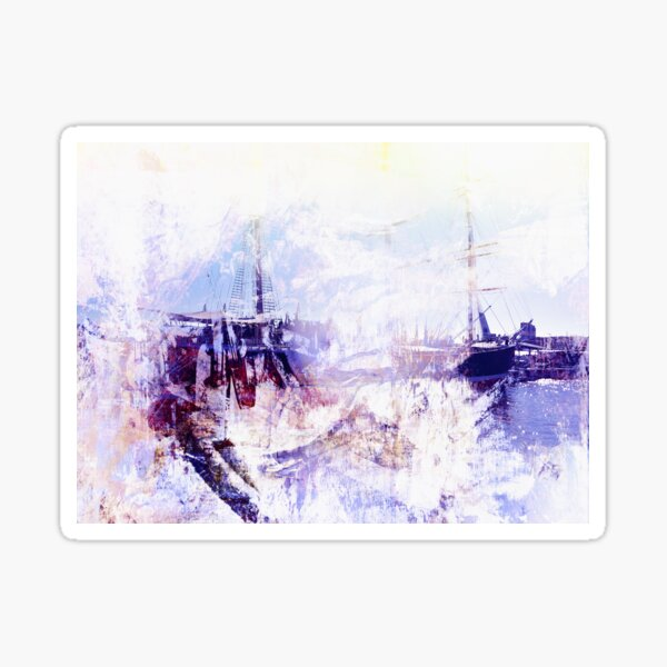 Hamburg - Harbor - Abstract - Blue Sticker