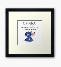 Ohana Means Family Framed Print